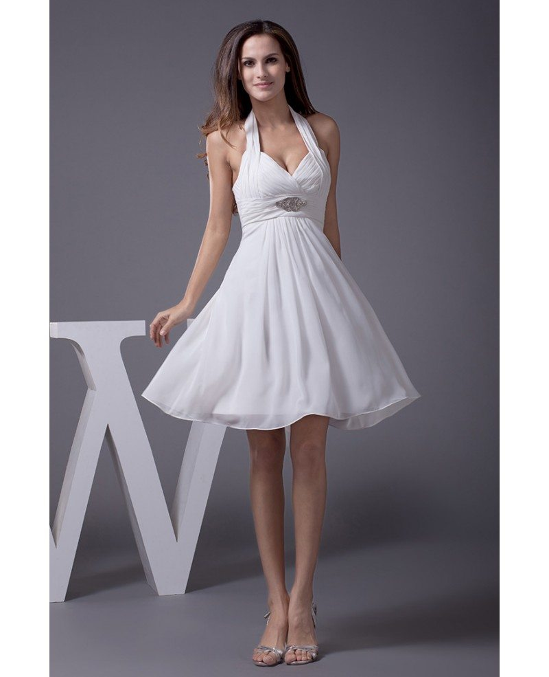 Halter short wedding dresses backless for beach wedding for Cute short wedding dresses