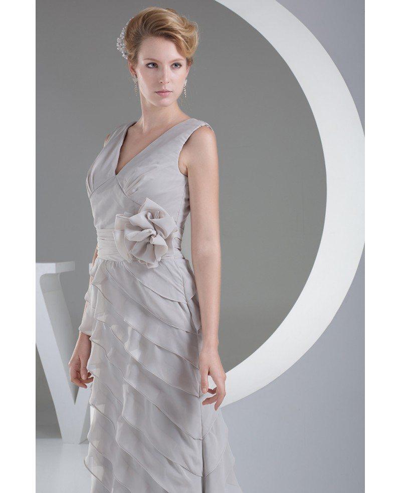 Light Grey V Neck Cascading Ruffles Formal Occasion Dress