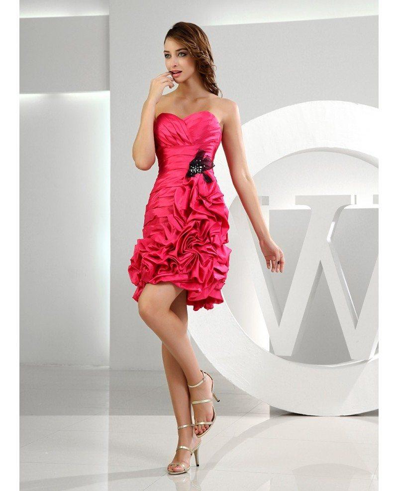 0b5f9ee8ba8 ... Sheath Sweetheart Short Satin Homecoming Dress With Cascading Ruffle ...