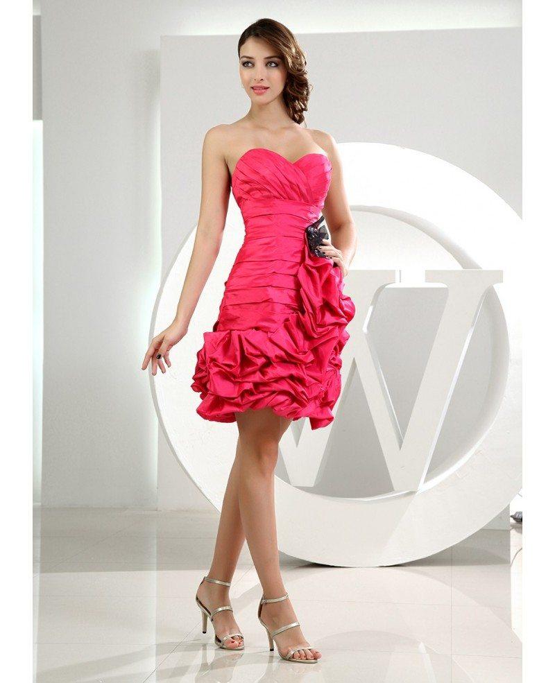 177267449bc Sheath Sweetheart Short Satin Homecoming Dress With Cascading Ruffle ...