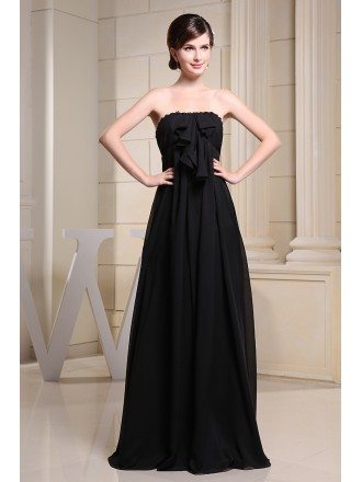 A-line Strapless Floor-length Chiffon Bridesmaid Dress