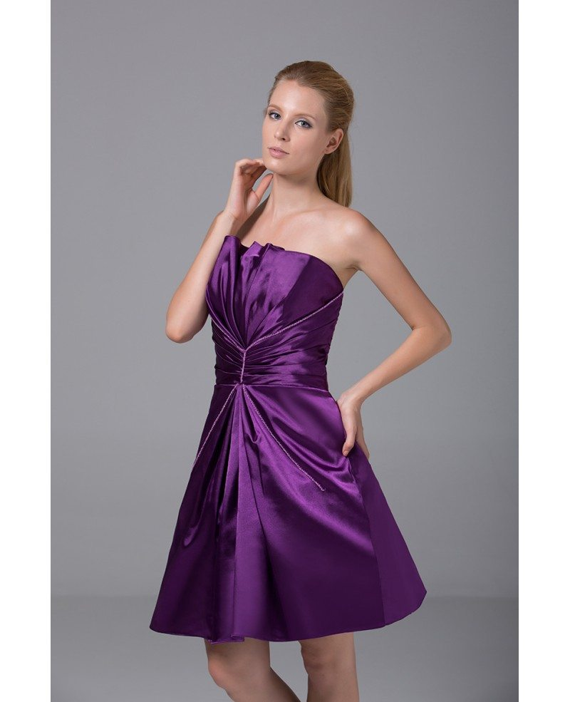 Purple Satin Pleated Short Bridesmaid Dress Strapless #OP4013 $99 ...
