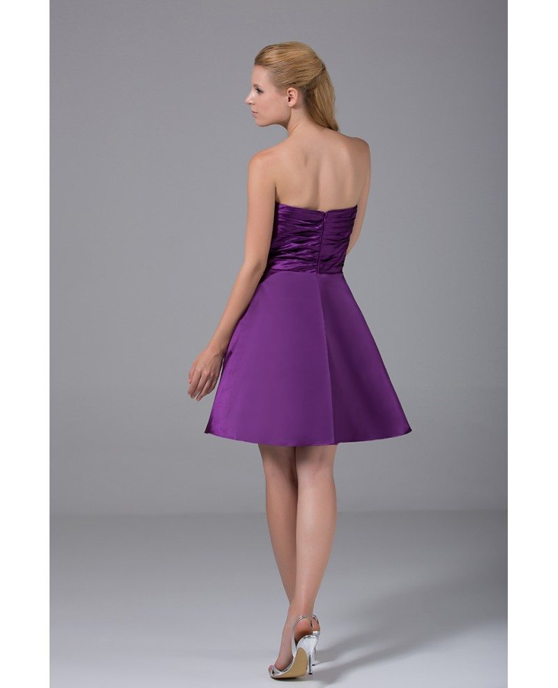 Purple satin pleated short bridesmaid dress strapless op4013 99 purple satin pleated short bridesmaid dress strapless ombrellifo Image collections