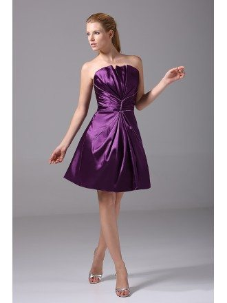 Purple Satin Pleated Short Bridesmaid Dress Strapless