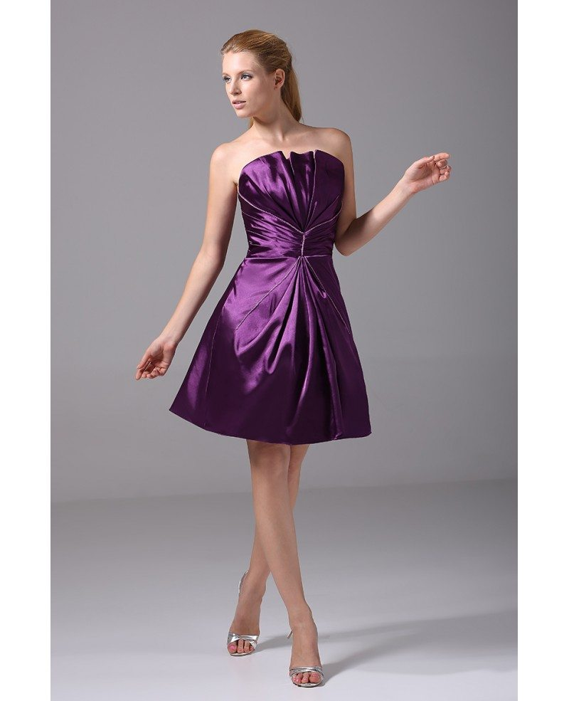 Purple satin pleated short bridesmaid dress strapless op4013 99 purple satin pleated short bridesmaid dress strapless ombrellifo Choice Image