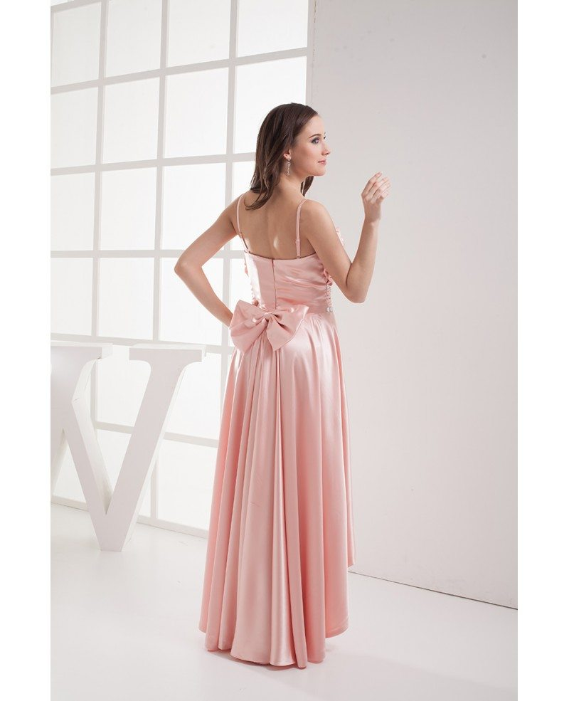 Pink Silky Satin High Low Prom Dress with Straps #OP4025 $146.9 ...