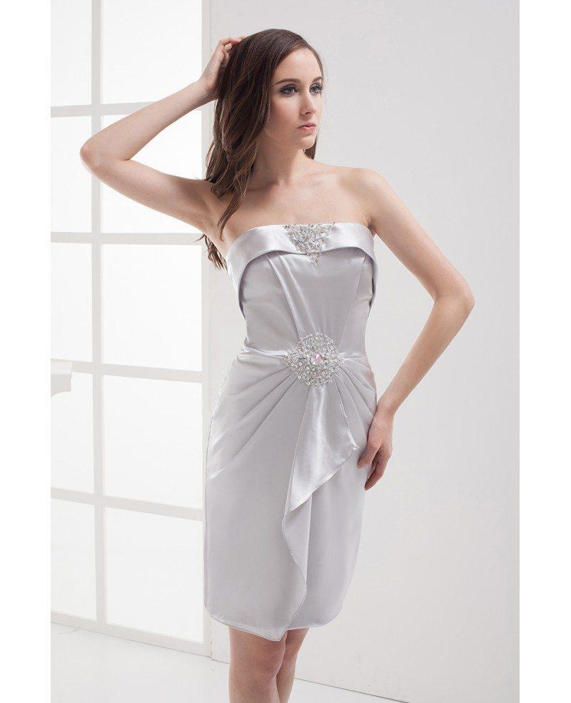 Gorgeous Silver Strapless Short Bridesmaid Dress #OP4027