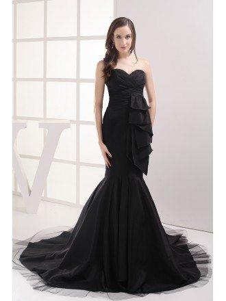 Formal Black Mermaid Long Prom Dress Custom