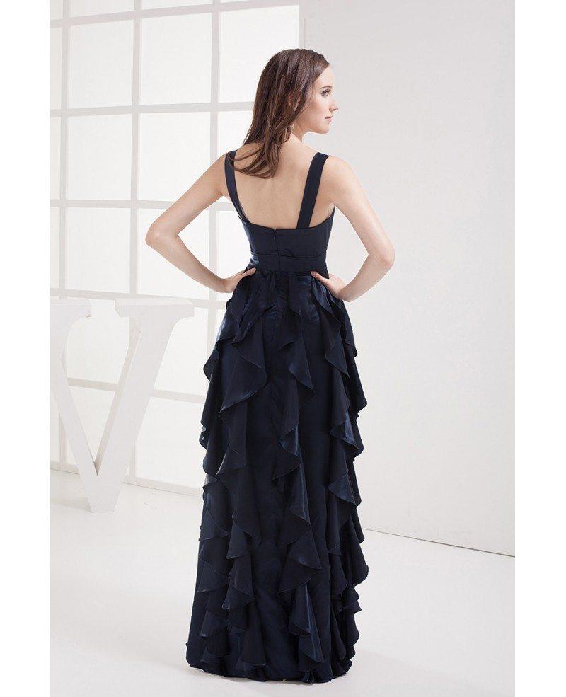 Blue Cascading Ruffle Dress