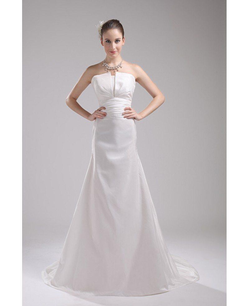 Simple White Taffeta Train Length Mermaid Wedding Dress #OP4046 ...