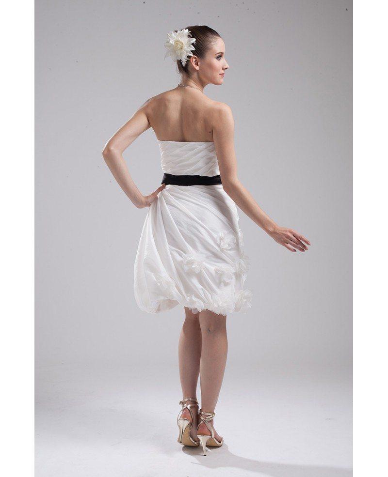White Wedding Dress With Black Flowers: Elegant Reception Short Wedding Dresses With Color White