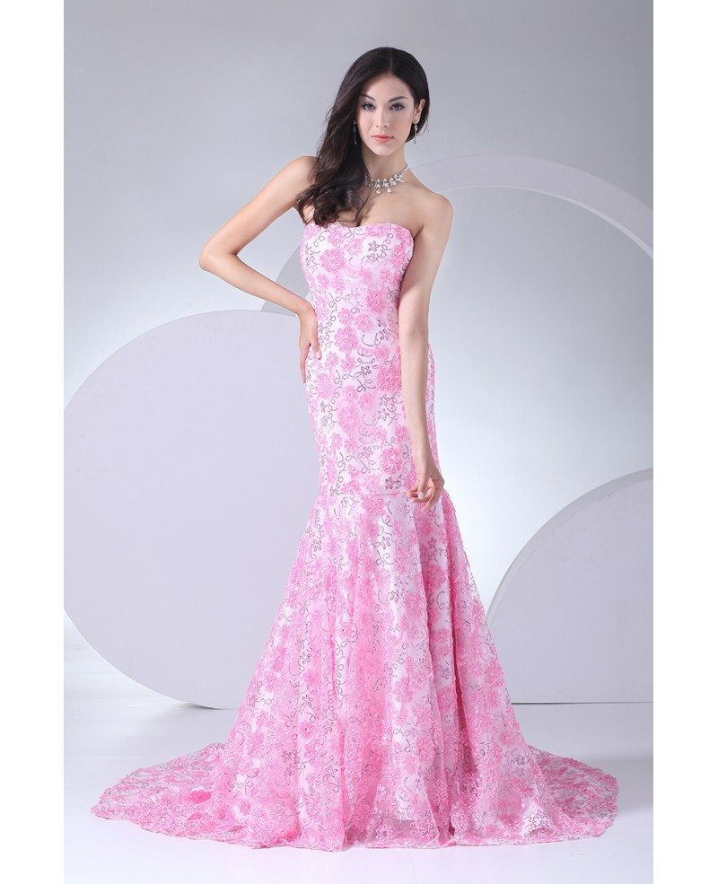 Full Of Pink Flowers Sequined Mermaid Prom Dress With Train Op4059