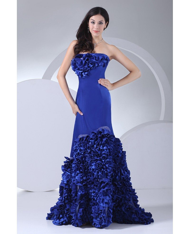 Royal Blue Strapless Cascading Ruffles Long Prom Dress # ...