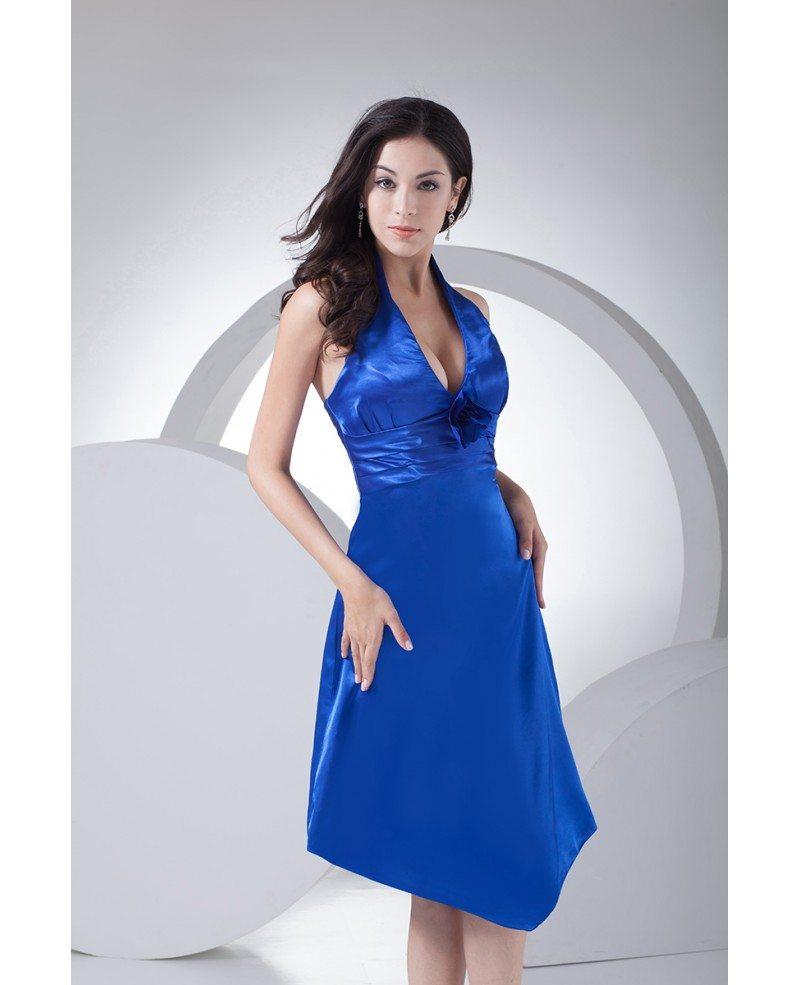 Blood Pool Halterneck Wedding Gown: Short Halter Open Back Royal Blue Bridesmaid Dress #OP4067