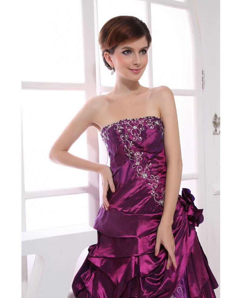 purple dresses for weddings purple gown strapless floor length satin tulle 6890
