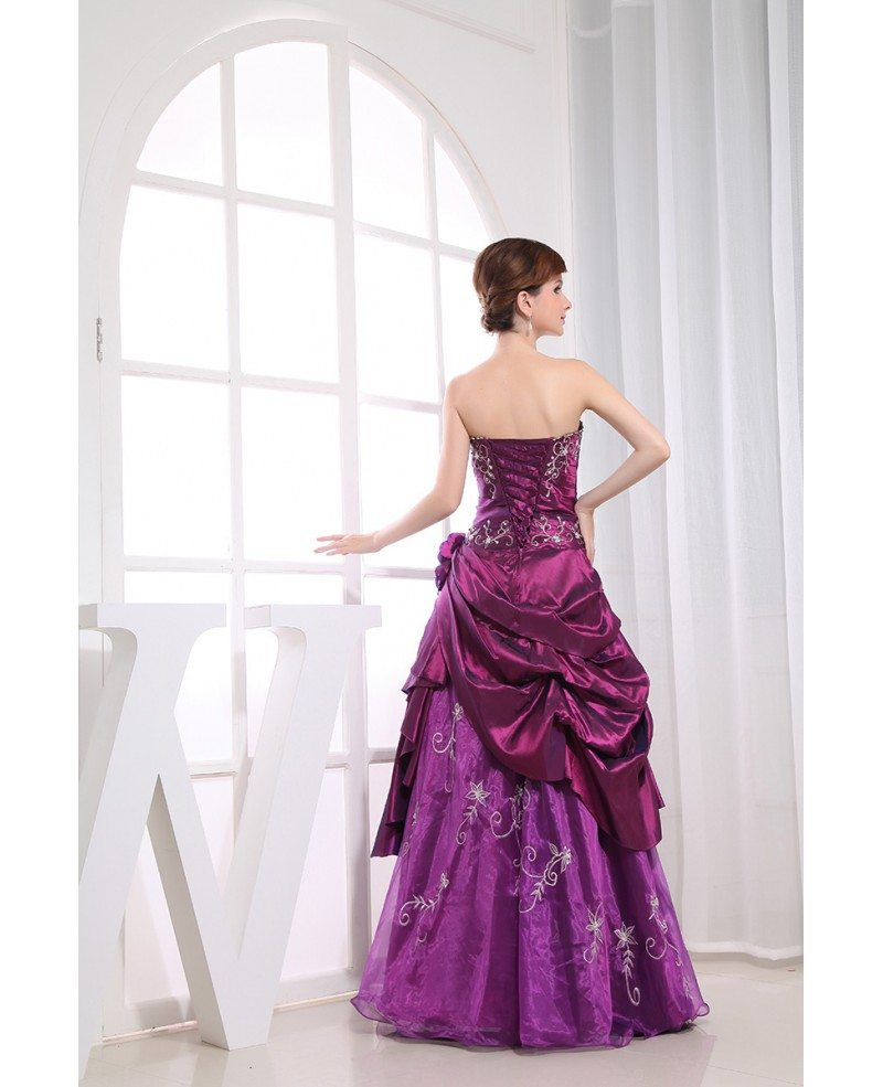 Purple Ball Gown Strapless Floor Length Satin Tulle Wedding Dress With Beading OP3129 224