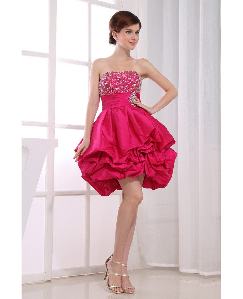 A-line Strapless Short Satin Prom Dress With Cascading ... - photo#39