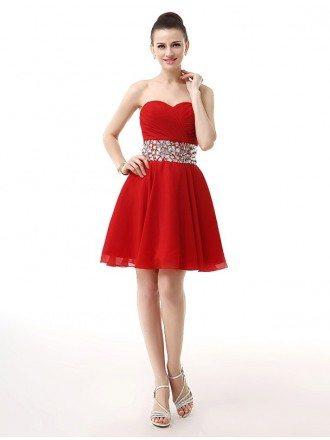 Little Short Pleated Sweetheart Beaded Waist Mini Chiffon Prom Dress