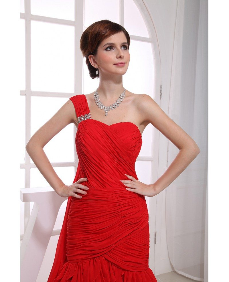 Red Mermaid One-shoulder Sweep Train Chiffon Wedding Dress With ...