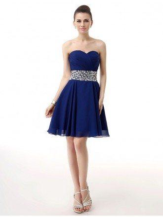 Blue Little Short Pleated Sweetheart Beaded Waist Mini Chiffon Prom Dress