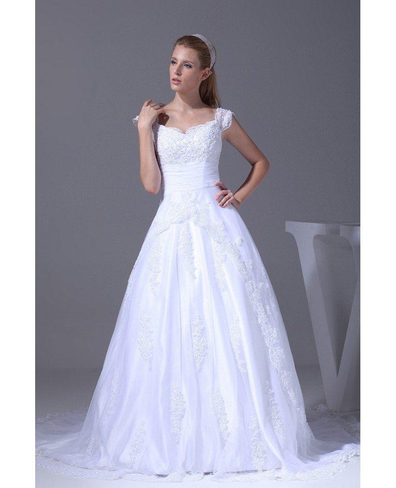 Modest Lace Cap Sleeved Ballgown White Wedding Dress #OPH1011 $329.9 ...