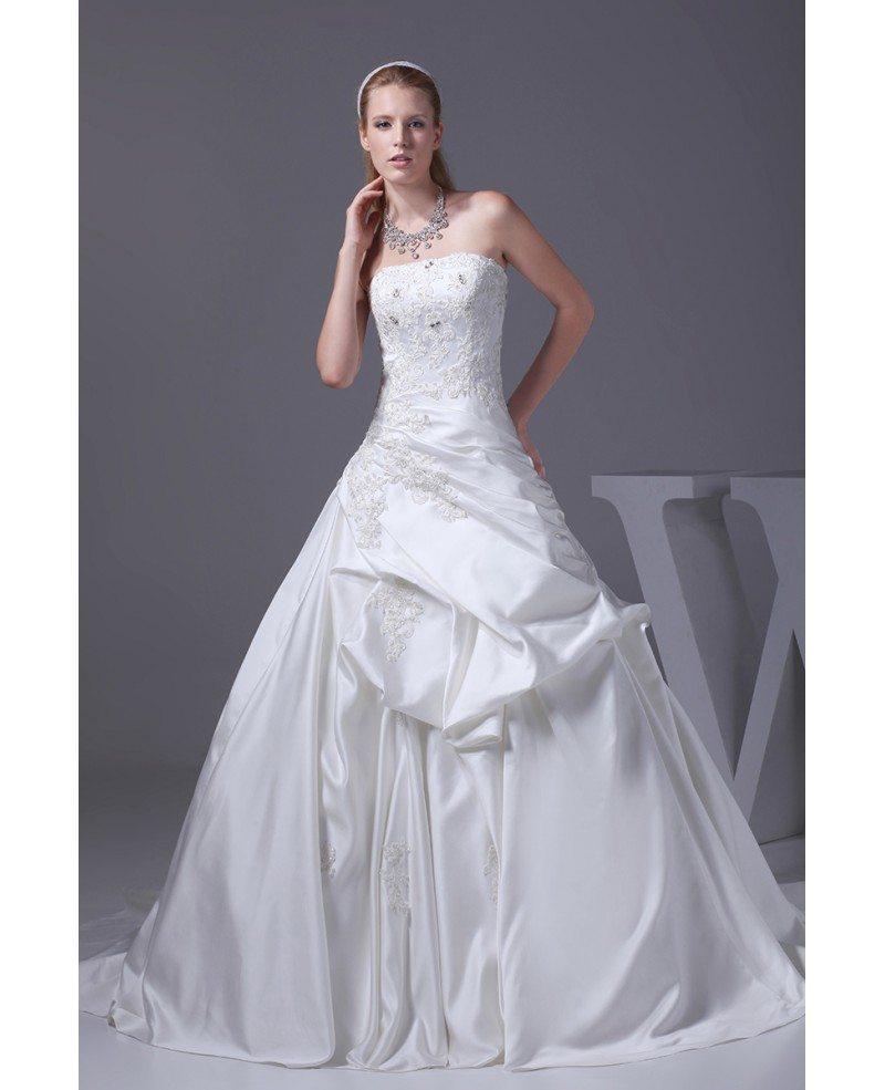 Strapless Taffeta Lace Ballgown Wedding Dress Corset Back #OPH1014 ...