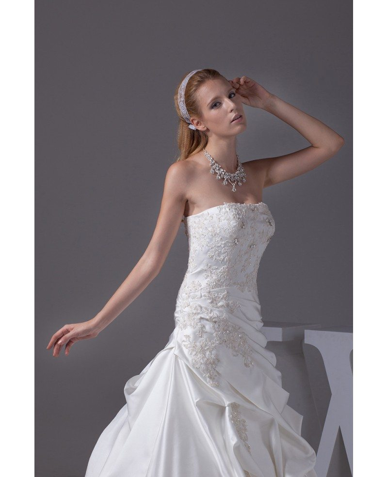Strapless taffeta lace ballgown wedding dress corset back for Strapless taffeta wedding dress