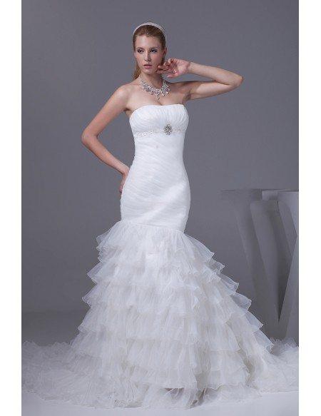 Mermaid Wedding Dresses Pleated : Beautiful strapless pleated mermaid ruffles wedding dress