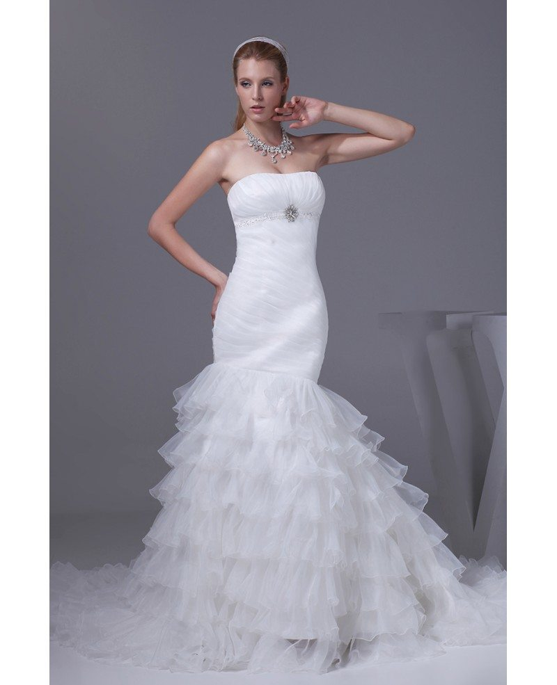 Beautiful strapless pleated mermaid ruffles wedding dress for Wedding dresses with ruffles