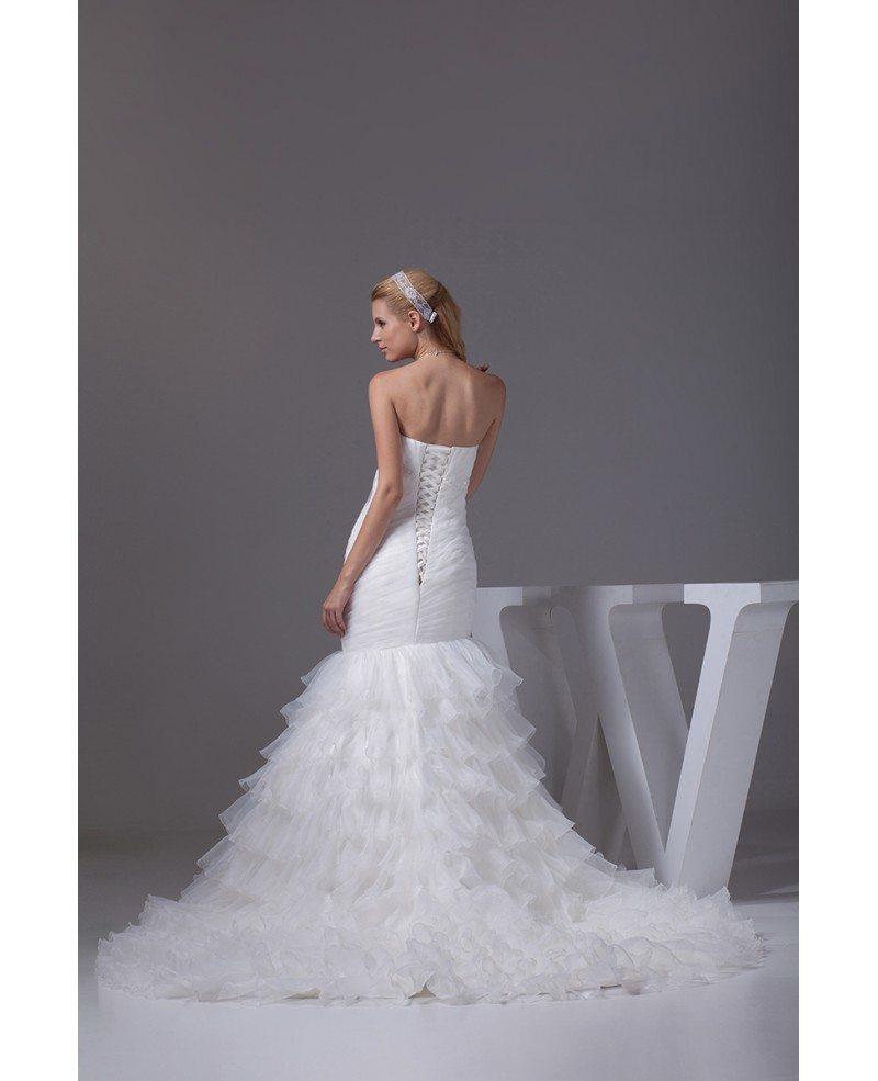 Beautiful strapless pleated mermaid ruffles wedding dress for Strapless wedding dress with ruffles