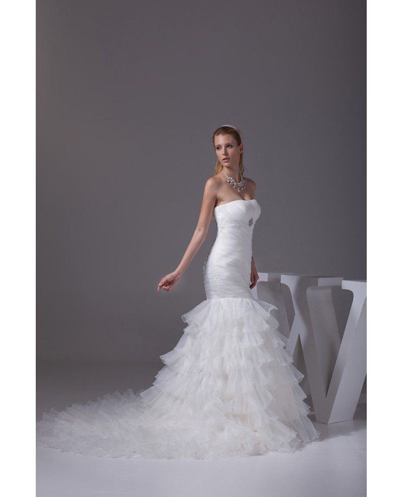 Beautiful Strapless Pleated Mermaid Ruffles Wedding Dress