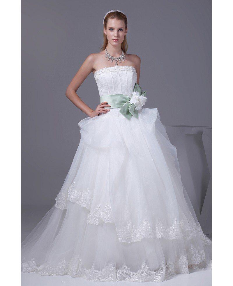 Pretty Strapless White And Green Sash Ballgown Wedding