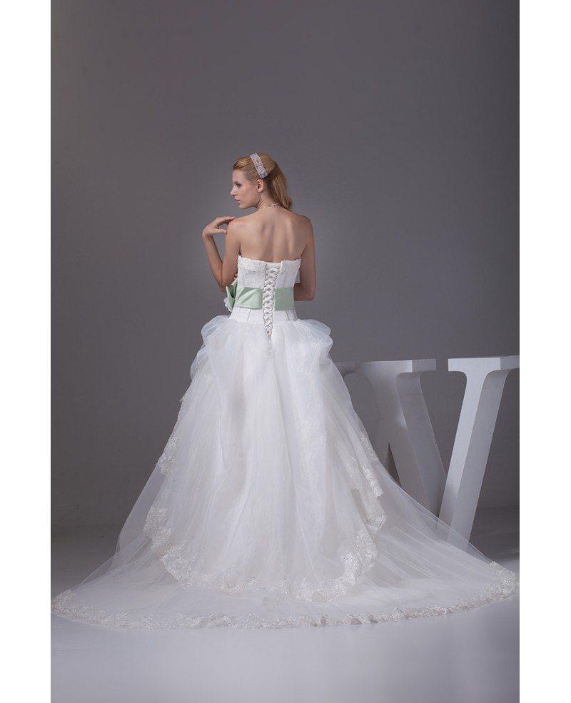 Pretty strapless white and green sash ballgown wedding for White green wedding dress