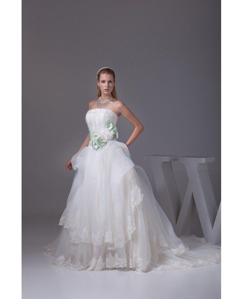 Pretty Wedding Dresses: Pretty Strapless White And Green Sash Ballgown Wedding