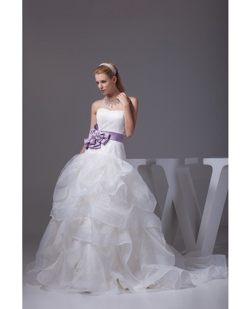 Cascading ruffles organza sweetheart wedding dress with for Wedding dresses with ruffles
