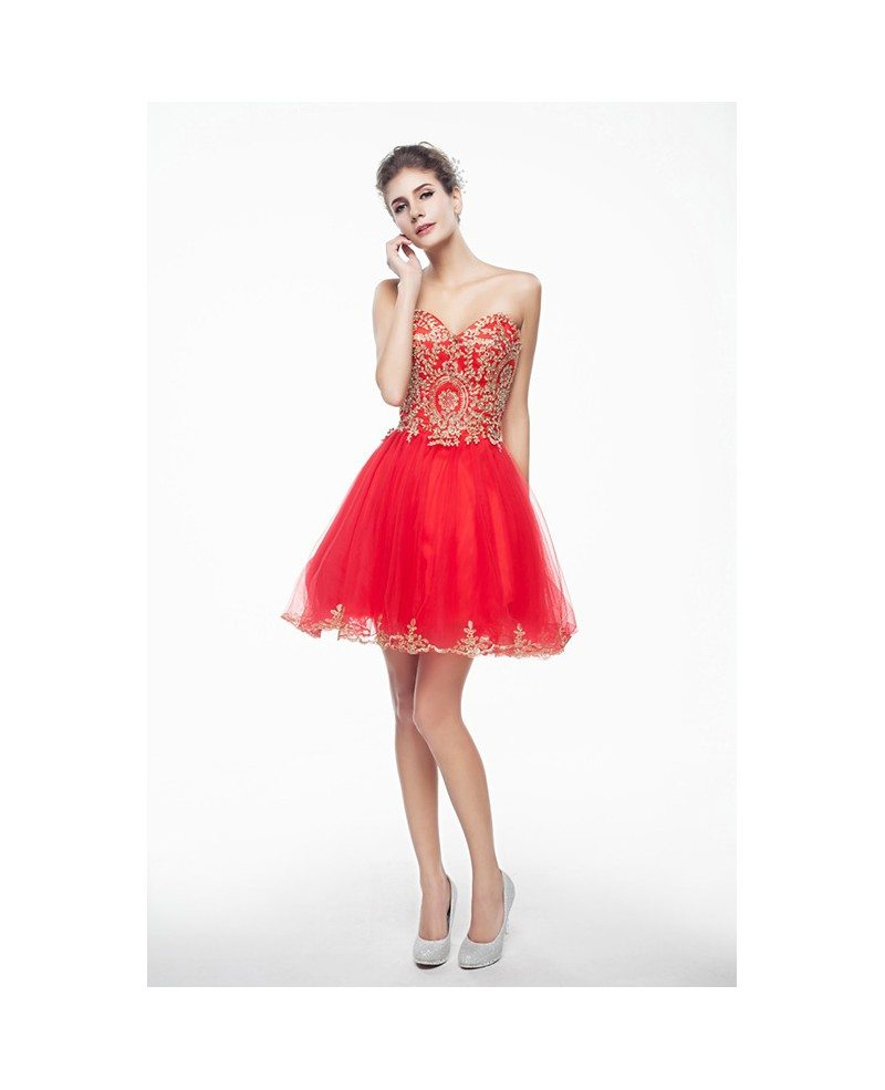 Red Mini Short Strapless Beaded Top Tulle Sparkly Puffy