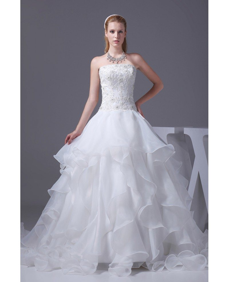 Wedding Gowns With Ruffles: Beaded Lace Strapless Ivory Cascading Ruffles Wedding
