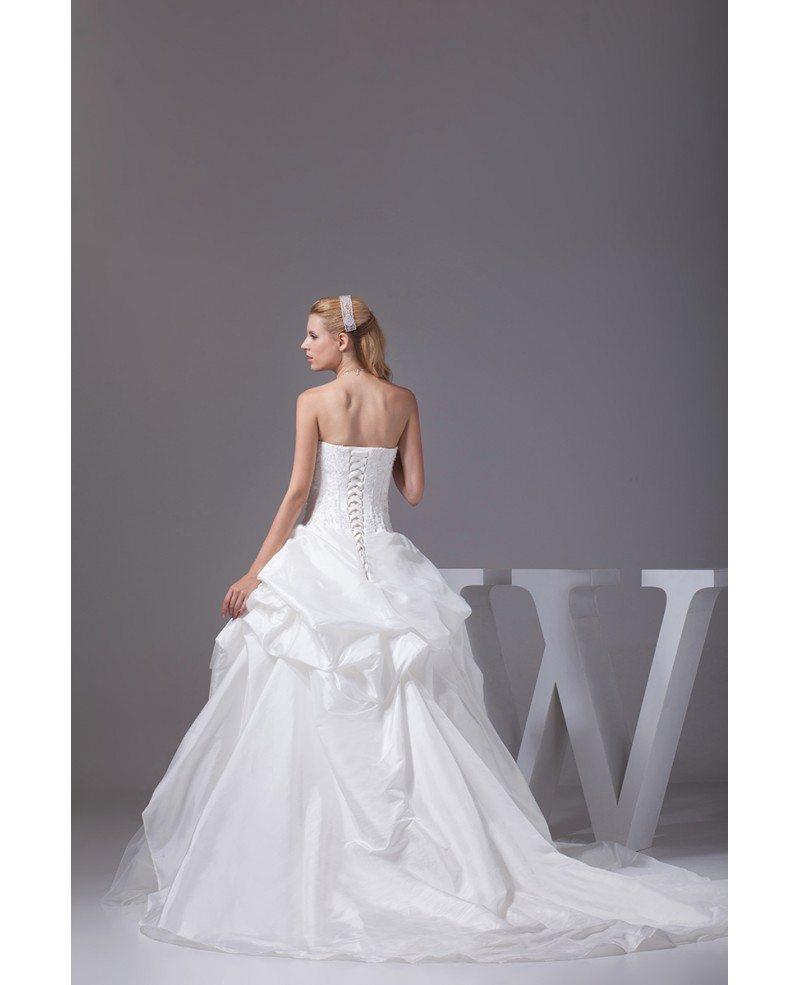 Classic White Taffeta And Tulle Strapless Wedding Dress