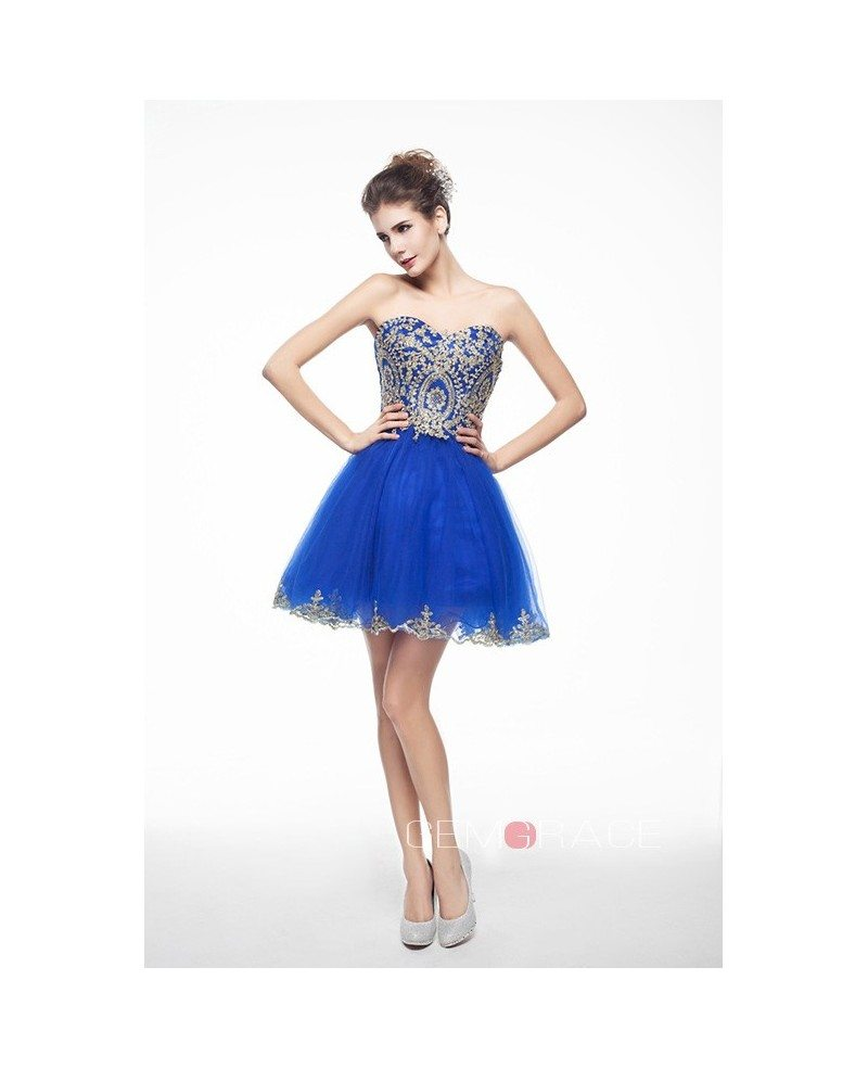 Royal Blue Mini/Short Strapless Beaded Top Tulle Sparkly Puffy Prom ...