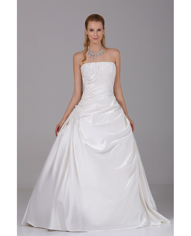 Beaded Lace Pleated White Ballgown Satin Wedding Dress #OPH1026 ...