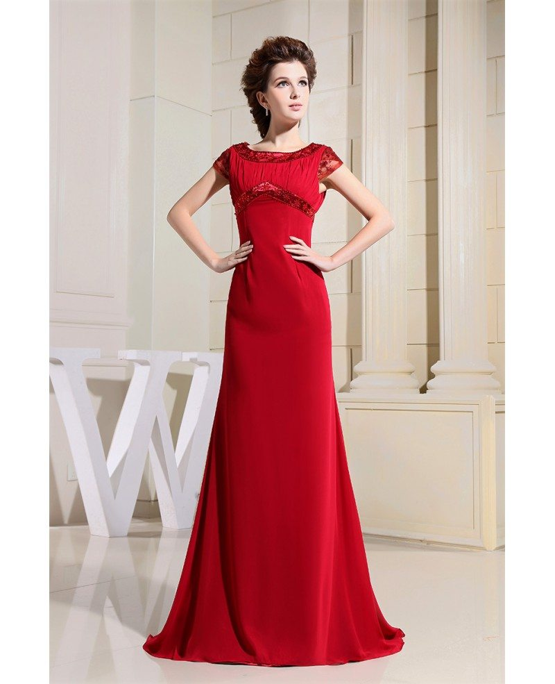 Simple Elegant Tulle A Line Scoop Neck Cap Sleeves Lace: A-line Scoop Neck Sweep Train Chiffon Evening Dress With