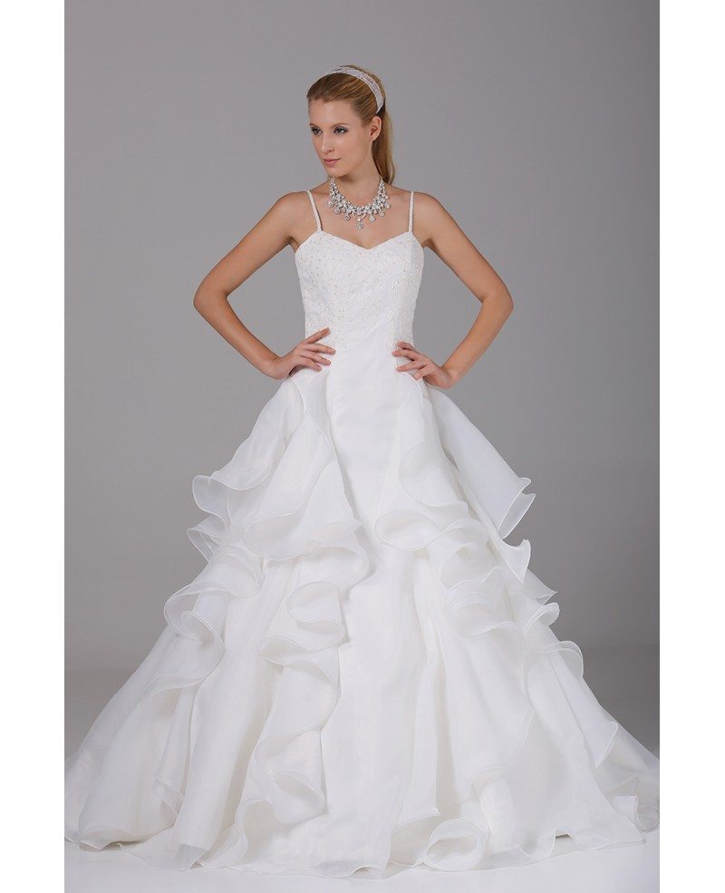 Pretty organza ruffles wedding dress with spaghetti straps for Wedding dresses with ruffles