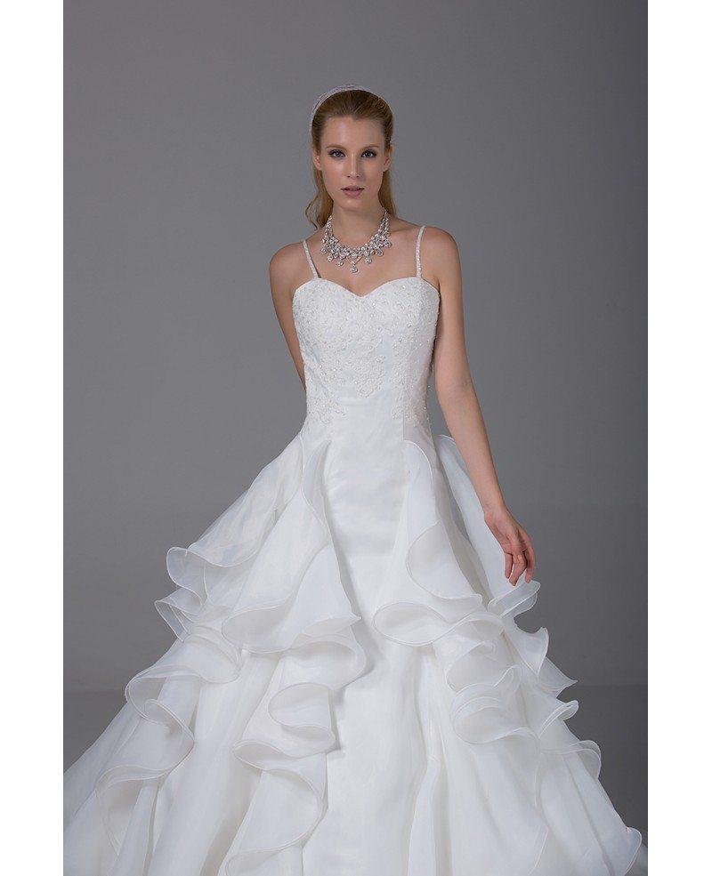 Pretty organza ruffles wedding dress with spaghetti straps for Pretty dress for wedding