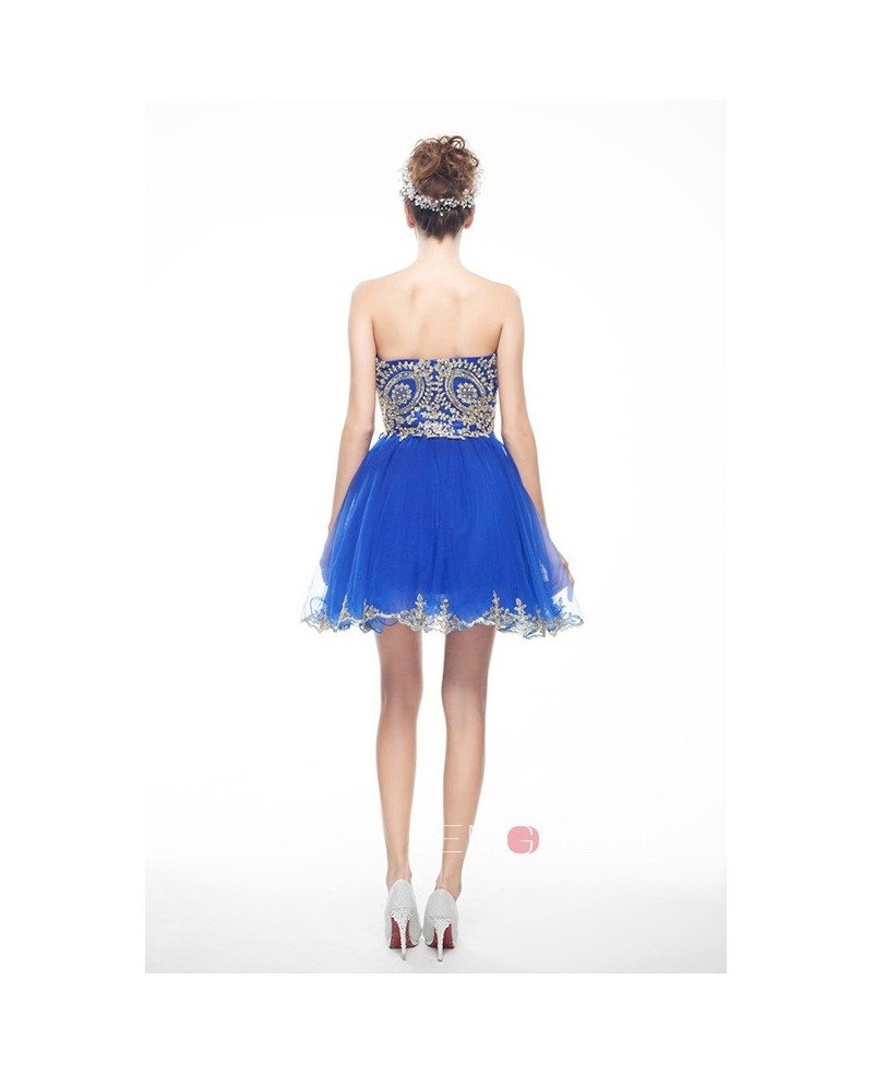 Royal Blue Mini Short Strapless Beaded Top Tulle Sparkly