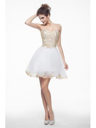 White Mini/Short Strapless Beaded Top Tulle Sparkly Puffy Prom Dress