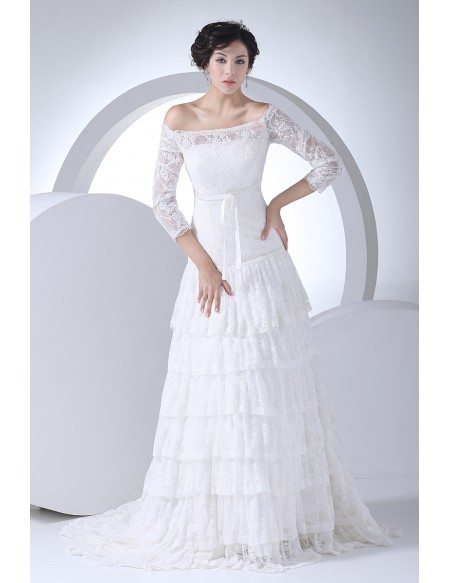 Lace 3/4 Sleeves Aline Layered Wedding Dress Off Shoulder #OPH1030 ...