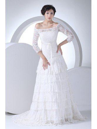 Lace 3/4 Sleeves Aline Layered Wedding Dress Off Shoulder