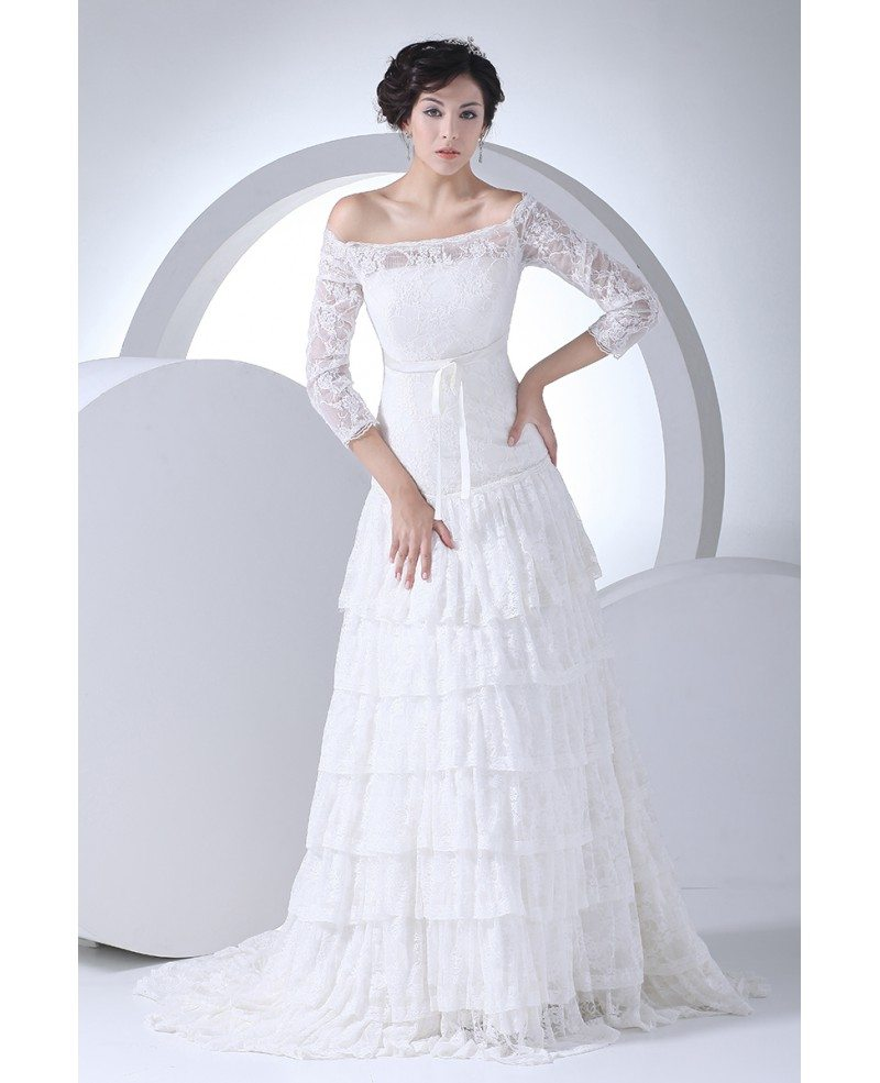 wedding dress 3 4 sleeve lace 3 4 sleeves aline layered wedding dress shoulder 9191