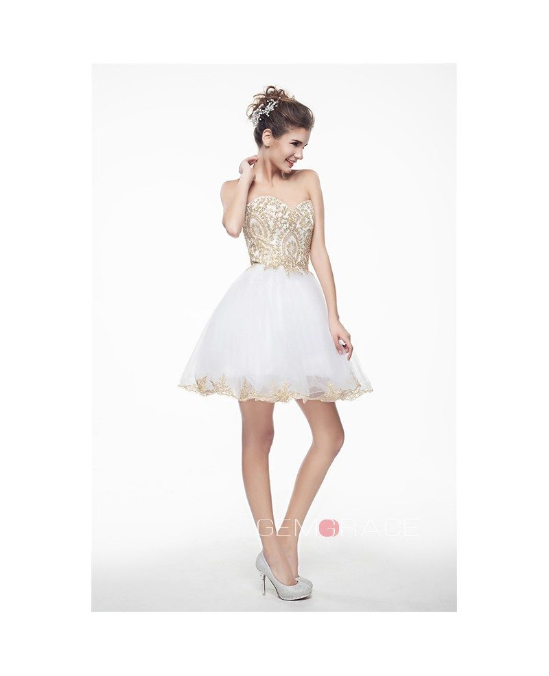 White Mini/Short Strapless Beaded Top Tulle Sparkly Puffy Prom Dress ...