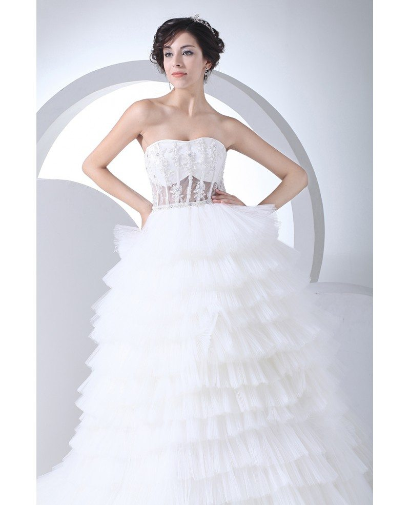 Sexy Corset Lace Layered Tulle Wedding Dress With Train